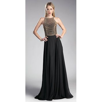 Black/Gold Sleeveless Long Formal Dress with Embellished Bodice