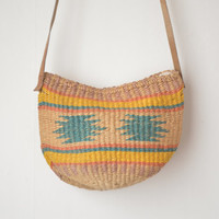 mini woven and leather tribal market crossbody bag sisal purse 60s 70s