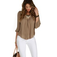 Taupe Faux Button Back Top