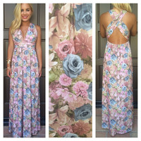 Lisette Floral Cross Back Maxi Dress