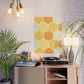 Yellow Honeycomb Poster by spaceandlines