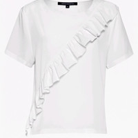 POLLY PLAINS FRILL FRONT T-SHIRT BY FRENCH CONNECTION