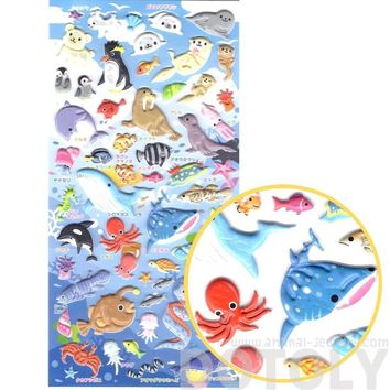 Adorable Whale Fish Walrus Otter Shaped Animal Themed Interactive Puffy Stickers   2 Sheets