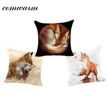 Comwarm Cozy Foxes Family Orange Cute Peaceful Sleeping Freedom Cartoon Fox Pattern Cushion Polyester Pillow for Sofa Home Decor