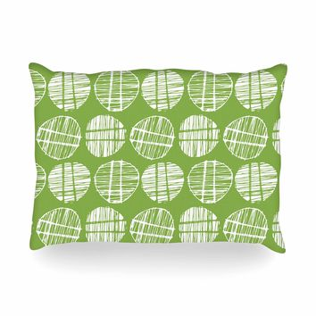 "Gill Eggleston ""Sketched Pods Green"" Green White Abstract Modern Digital Vector Oblong Pillow"