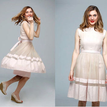 Sweet Confection dress | vintage 1950s dress • chiffon linen 50s dress