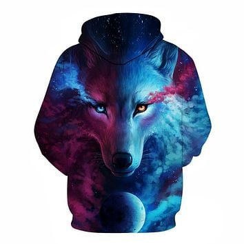 Hot Sale Brand Wolf Printed Hoodies Men 3D Sweatshirt Quality Plus size Pullover Novelty 6XL Streetwear Male Hooded Jacket
