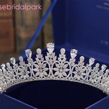 Luxury Cubic Zircon Wedding Tiara CZ Bridal Queen Princess Pageant Party Crown