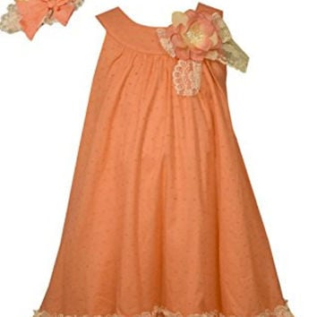 Bonnie Jean Little GIrls Coral Float Easter Dress with Hat 6