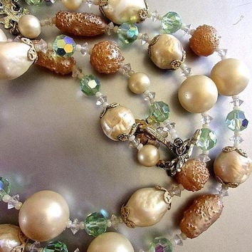 VENDOME Creamy Champagne Double Strand Necklace, Pastel ABs, Baroque Pearls, Vintage
