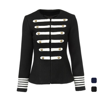 New 2016 autumn winter vintage fashion women wool jacket royal military style double breasted jackets outerwear black blue