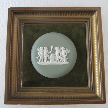 Wedgwood England Cameo Medallion Green Jasper Puttis Framed Art