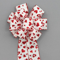 Red Glitter Hearts Valentine's Day Bow