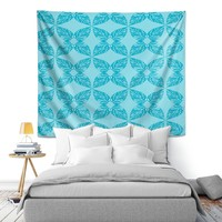Wall Tapestry By Julia Grifol Leaves Blue