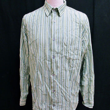 Retro Banana Republic Green Designer stripe Shirt Large