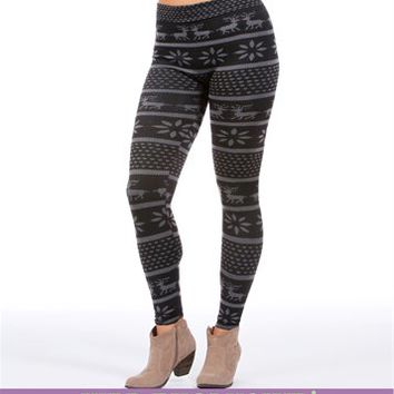 Black/Charcoal Fair Isle Leggings
