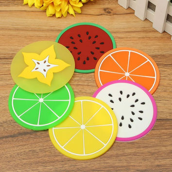New Cute Cup Mug Mat Cushion Holder Colorful Anti Slip Silicone Fruits Coaster Home Dining Decor Table Drink Placement Pad