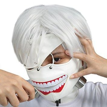 Cool White and Black Color Tokyo Ghoul 2 Half Face Mask Halloween Party Masquerade Cosplay Masks PU Material With Adjustable Zipper