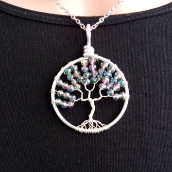 TREE OF LIFE  Mountain Crystal Pendant Handmade Tree Of Life Mountain Crystal Pendant Unique Necklaces Wire  Silver Plated Mountain Crystal