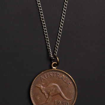 Vintage 1950 Australia coin necklace