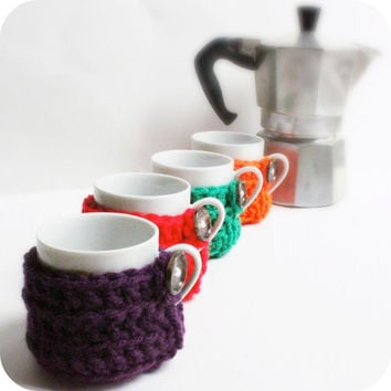 Cozy Cover Espresso Cup Cozy Set Multicolor handmade crochet