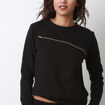 Zipper Accent Long Sleeve Knit Top