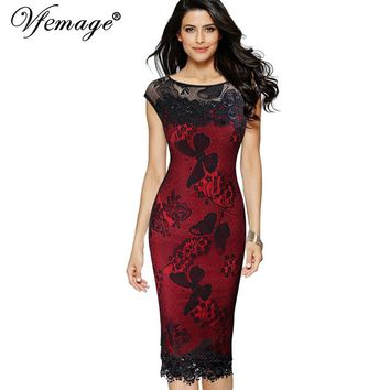 Sequins Crochet Butterfly Lace Party Pencil Evening Mother of Bride Special Occasion Midi Dress