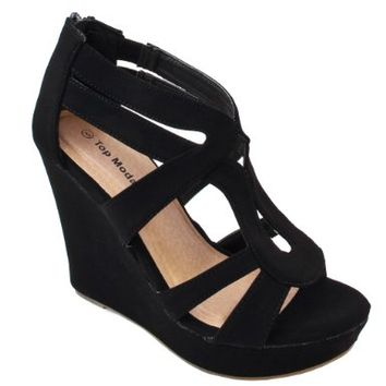 Women's Strappy Open Toe Platform Wedge:Amazon:Shoes