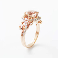 Special Reserved - 14K Rose Gold Engagement Ring Rose Gold Morganite - first payment