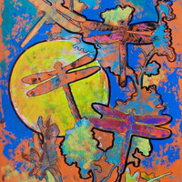 """Acrylic painting with exotic dragonfly and yellow sun acrylic artwork wall art home décor 19.5"""" x 25.5"""""""