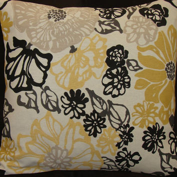 """Decorative Throw Pillow Cover in Cream Black Golden Yellow and Gray 14-16"""""""