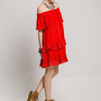 Esmeralda Off the Shoulder Dress - Red