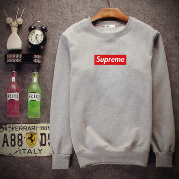 Supreme Round collar blouse head movement sweater Grey
