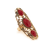 FOREVER 21 Filigree Cocktail Ring Gold/Red