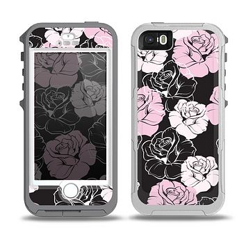 The Pink and Black Rose Pattern V3 Skin for the iPhone 5-5s OtterBox Preserver WaterProof Case