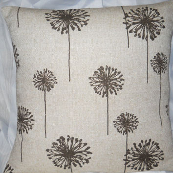 Dandelion Pillow Cover, Decorative Pillow Cover, Tan With Chocolate Brown Dandelions Pillow,Throw/Toss/Accent Pillow Cover