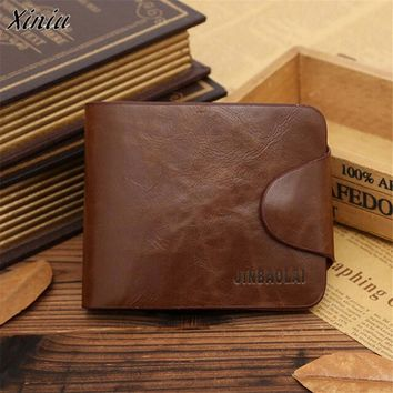 Bolsas 2017 Luxury Retro Mens Leather Bifold Wallet Pocket Purse Credit ID Card Slim Purse Carteira feminina