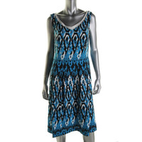 Anne Klein Womens Pattern V-Neck Casual Dress