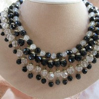 Vintage 40s Crystal Bib Necklace