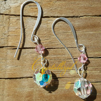 GORGEOUS Swarovski Crystal Beaded Drop Earrings in Crystal AB and Rose