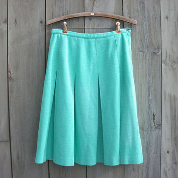 Vintage skirt - Mint green pleated knit skirt