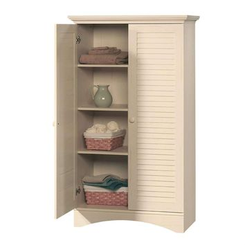 Louver 2-Door Storage Cabinet Bed Bath Armoire Wardrobe