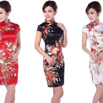 New National Trend Female Tang Suit Cheongsam Fashion Vintage Chinese Dress S/M/L/XL/XXL White/Blak/Red = 1931718724