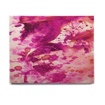 "Ebi Emporium ""Color Blots 4"" Magenta Coral Painting Birchwood Wall Art"