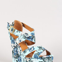 Heart-35 Rosette Print Criss Cross Platform Wedge