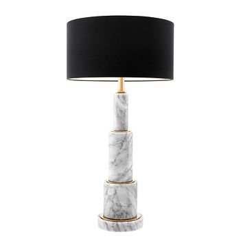 STACKED WHITE MARBLE TABLE LAMP   EICHHOLTZ DAX