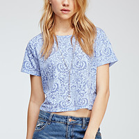 Damask Pattern Boxy Top