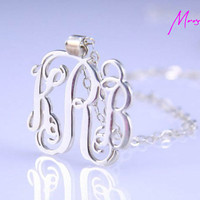 "1""inch Silver  Interlocking Monogram Necklace-1inch sterling Silver handmade Necklace"