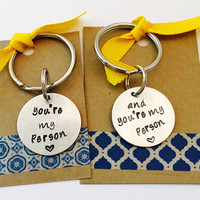 You're My Person Keychain, Keychain Set, Hand Stamped My Person Key Chain, Keychain Set