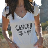 CANCER /// Boho Lux Divine Clothing /// Vintage Style Soft Tee /// Zodiac Star Signs